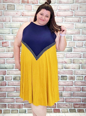 Navy + Mustard Tank Dress Dresses Stacked Consignment