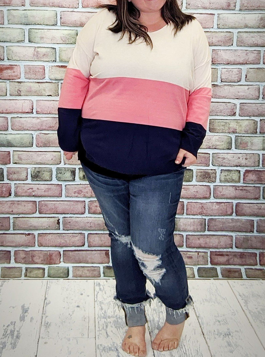 Lightweight Coral + Navy Colorblock Sweater