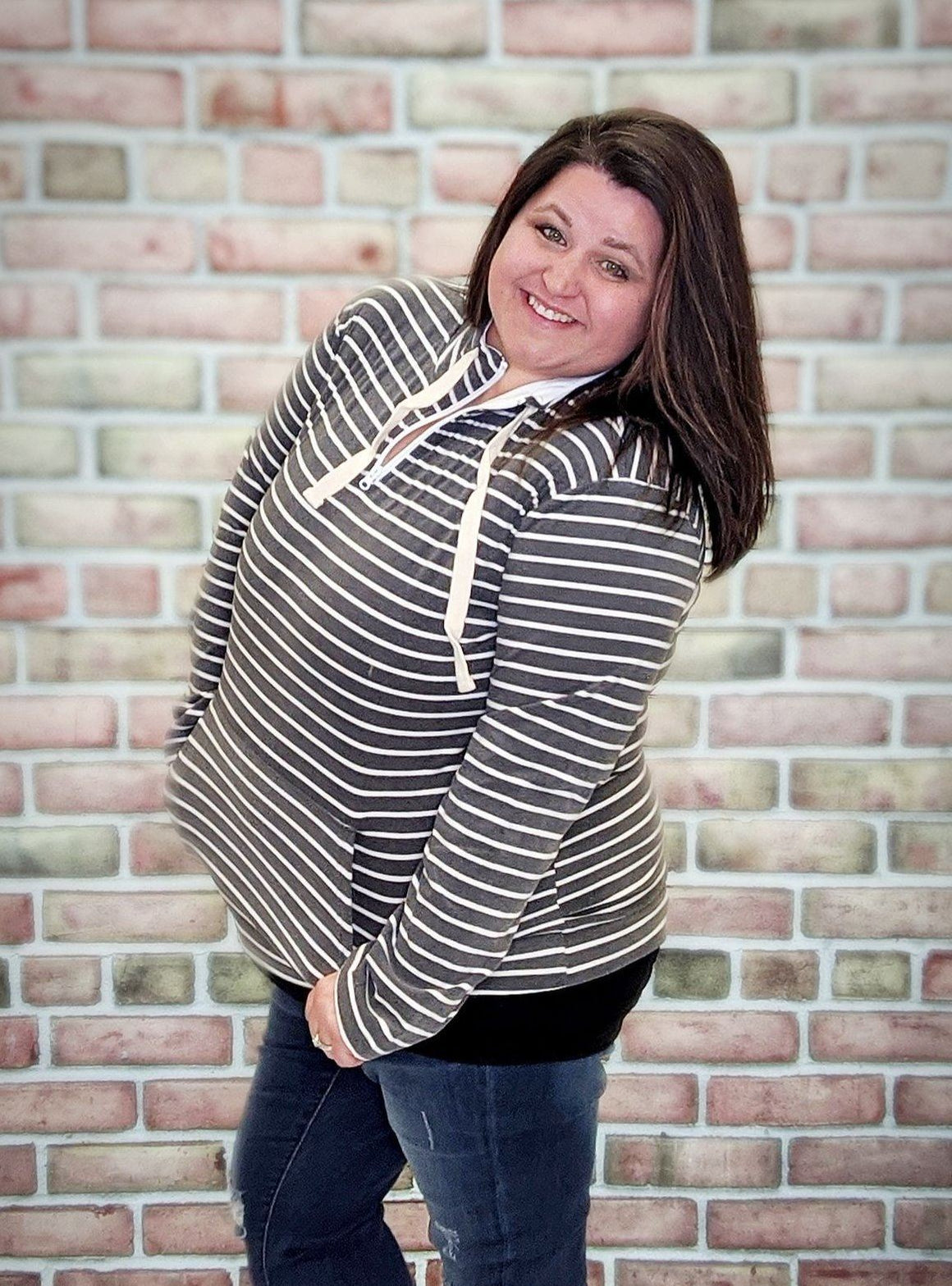 Gray Striped Halfzip- Softest Sweatshirts Collection Sweatshirts Stacked Consignment
