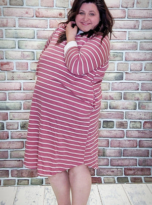Pink Striped Sweatshirt Dress w/Pockets Dresses Stacked Consignment