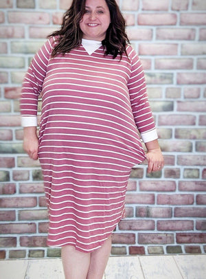 Pink Striped Sweatshirt Dress w/Pockets