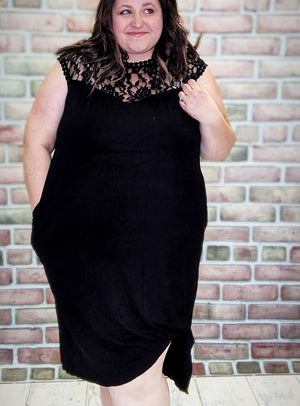 Black Lace Detail Knotted Dress
