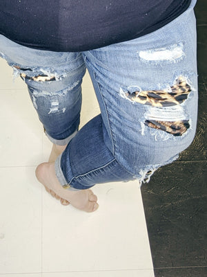 Judy Blue Leopard Patch Skinny Jeans jeans Stacked Consignment