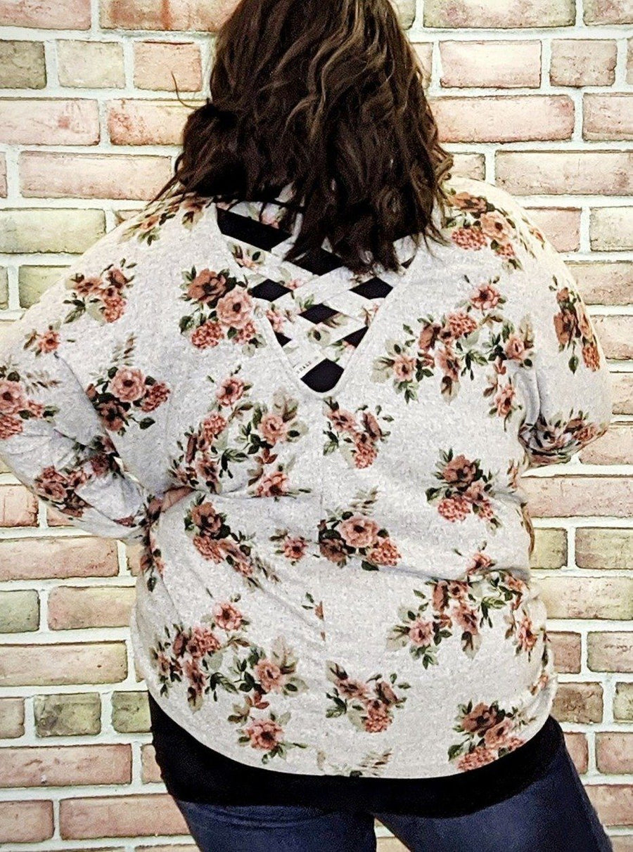 Gray Floral Strappy Back Top
