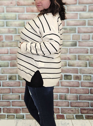 Cream + Black Striped Lightweight Sweater Sweaters Stacked Consignment