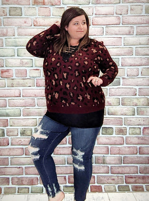 Burgundy Leopard Laceup Sweater