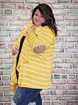 Yellow Striped Cardigan with Hood