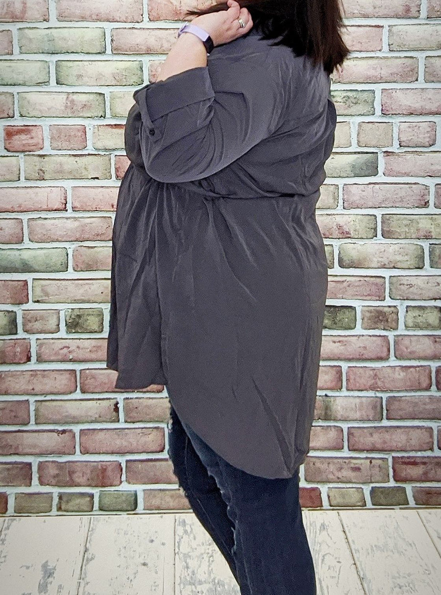 Gray Buttoup Tunic w/ Pockets