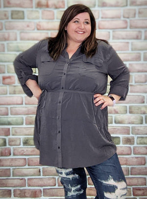 Gray Buttoup Tunic w/ Pockets Tops Stacked Consignment