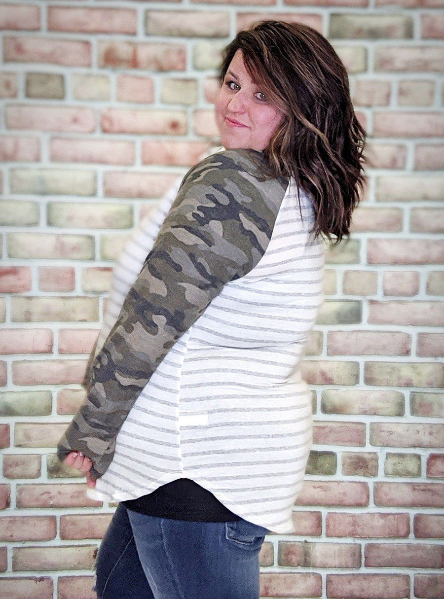 Camo Stripe Long Sleeve Raglan Top