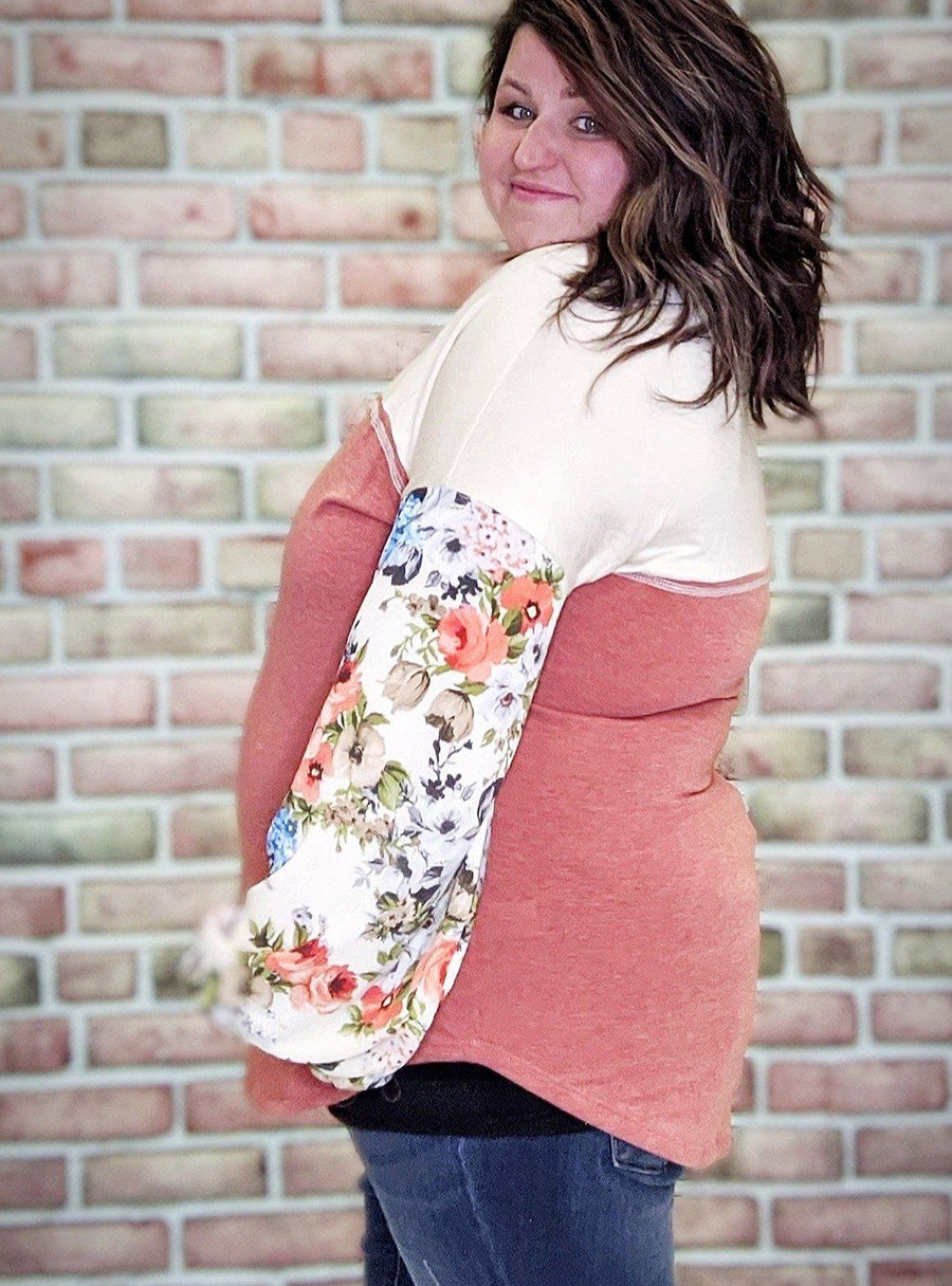 Coral + Cream Floral Sleeve Top