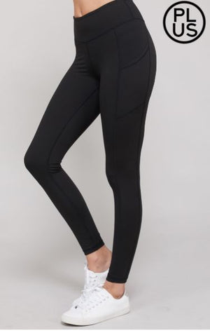 High Waist Plus Size Pocket Leggings (more colors!) leggings Stacked - Fashion for Curves
