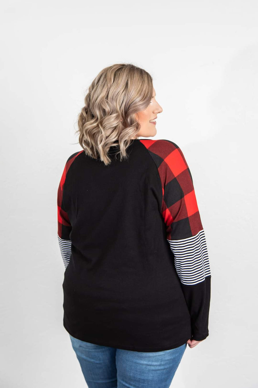 Buffalo Plaid + Stripe Sleeve Black Raglan Tops Michelle Mae