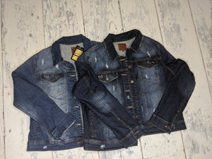 Distressed Denim Jacket w/Stretch