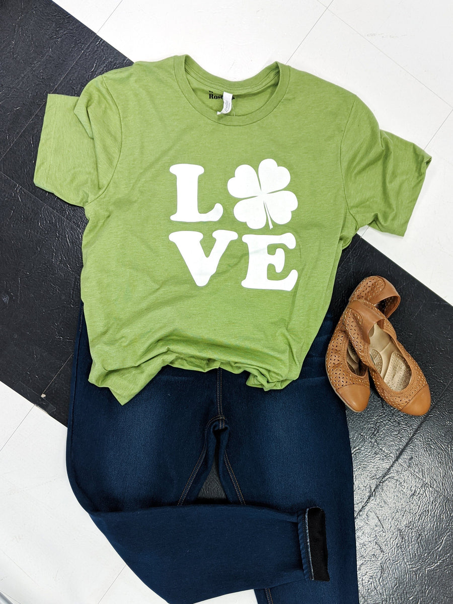 Green LOVE clover tee
