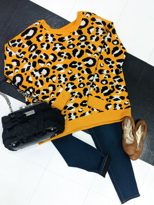 Gold Open Back Leopard Sweater Sweaters Stacked - Fashion for Curves