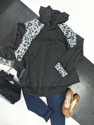Gray Leopard Detail Hoodie Sweatshirts Stacked - Fashion for Curves