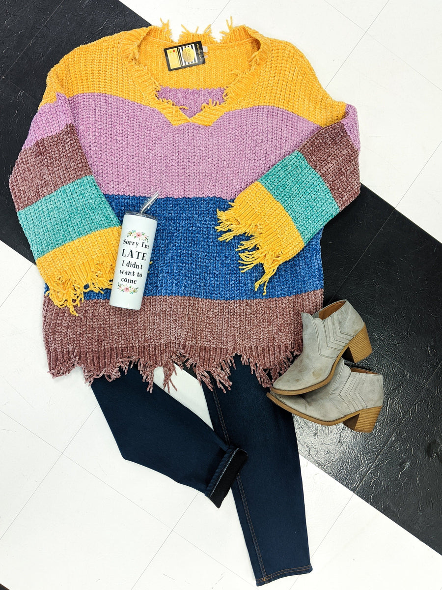 Chenille Colorblock Distressed Sweater