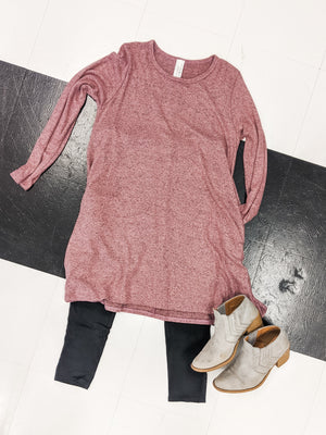 Mauve Heathered tunic with pockets Tops Stacked - Fashion for Curves