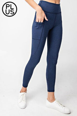 High Waist Plus Size Heathered Pocket Leggings (more colors) LEGGINGS Stacked - Fashion for Curves