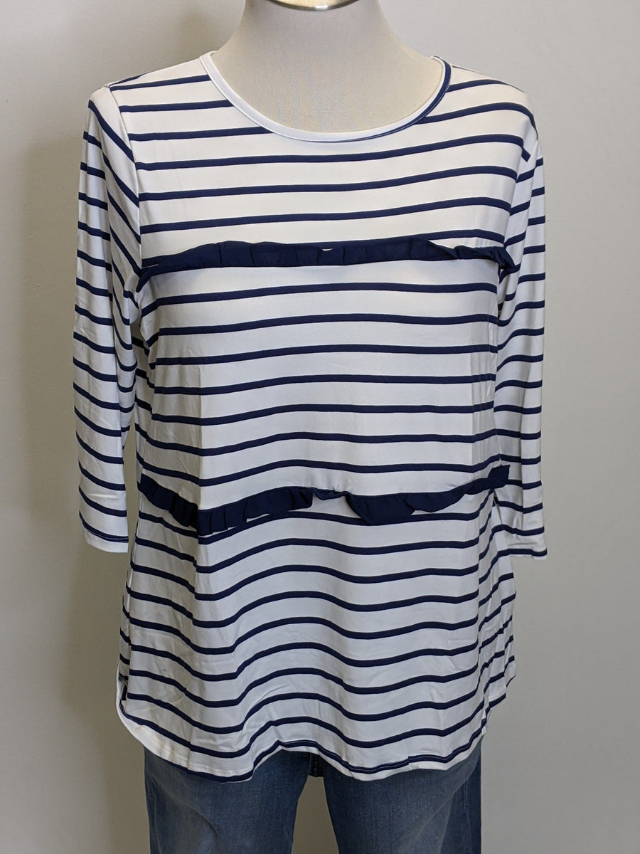 WHITE 7/8 TEE WITH NAVY STRIPES/RUFFLES Tops ninexis