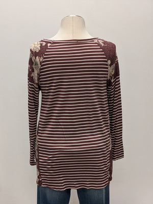 Striped Long Sleeve w/ Floral Shoulders + Inset (more colors!) Tops oddi