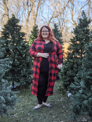 BUFFALO PLAID BUTTONUP DUSTER Tops sweet lovely by jen