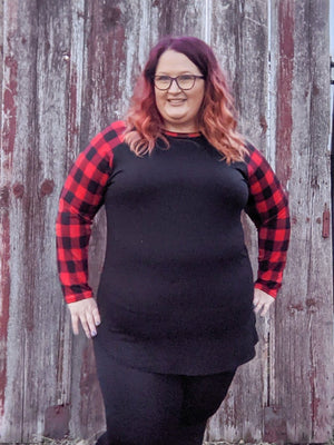 Printed Sleeve Raglan (camo or plaid) Tops curvy lovely
