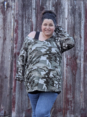 Camo Tunic w/Sequin Pocket Tops voll