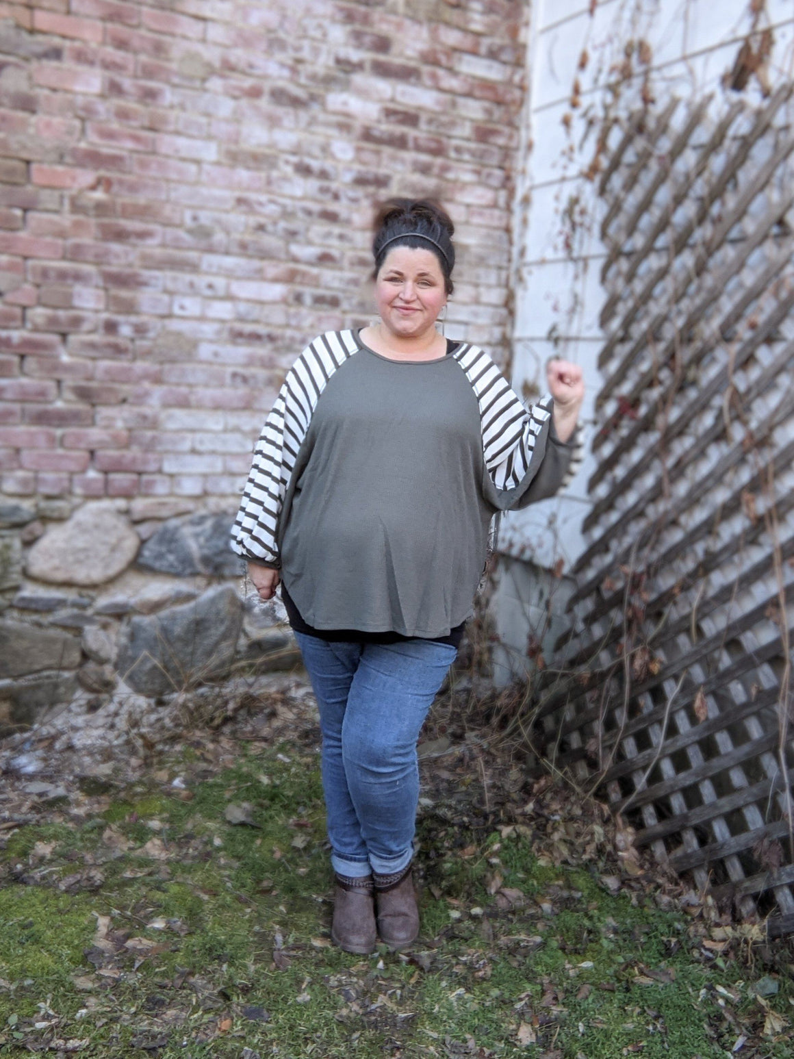 Sage + White Striped Top w/ Oversized Sleeve Tops ninexis