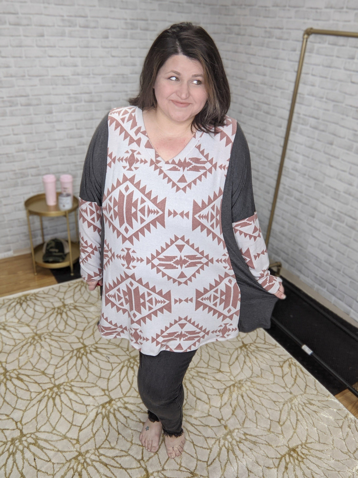GRAY + RUST AZTEC vneck tunic hoodies voll