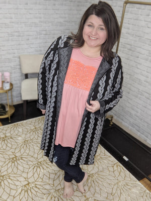 BLACK + GRAY BRAID-PRINT CARDIGAN Tops ninexis