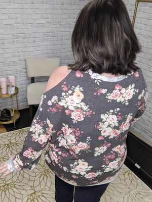 CHARCOAL FLORAL RAW-EDGE COLD SHOULDER TOP Tops A.GAIN
