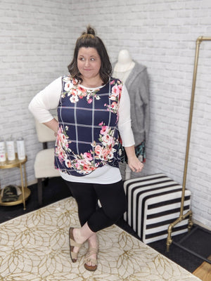 WINDOWPANE PLAID AND FLORAL RAGLAN TOP LONG SLEEVE TOPS oddi