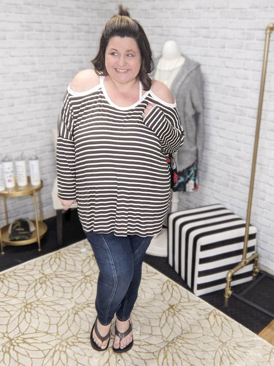 DARK OLIVE + WHITE STRIPED COLD SHOULDER LONG SLEEVE TOPS rae mode
