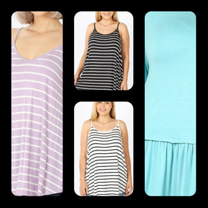 Striped Reversible Cami Tank (more colors!) tank Stacked - Fashion for Curves
