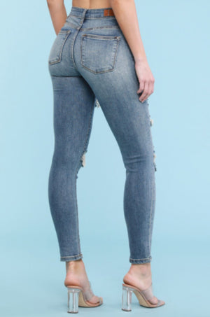Judy Blue Destroyed Patch Skinny Jeans Jeans Judy Blue