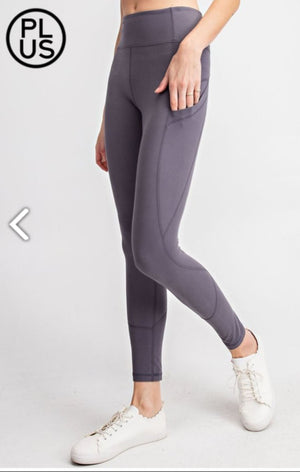 High Waist Angled Side Pocket Leggings leggings Stacked - Fashion for Curves