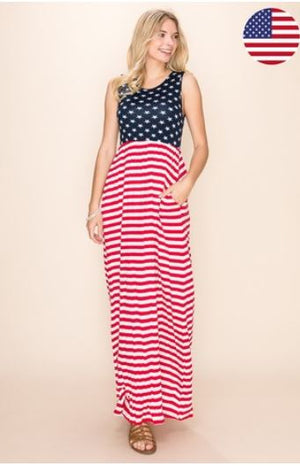Flag Inspired Maxi Dress Dresses Stacked - Fashion for Curves