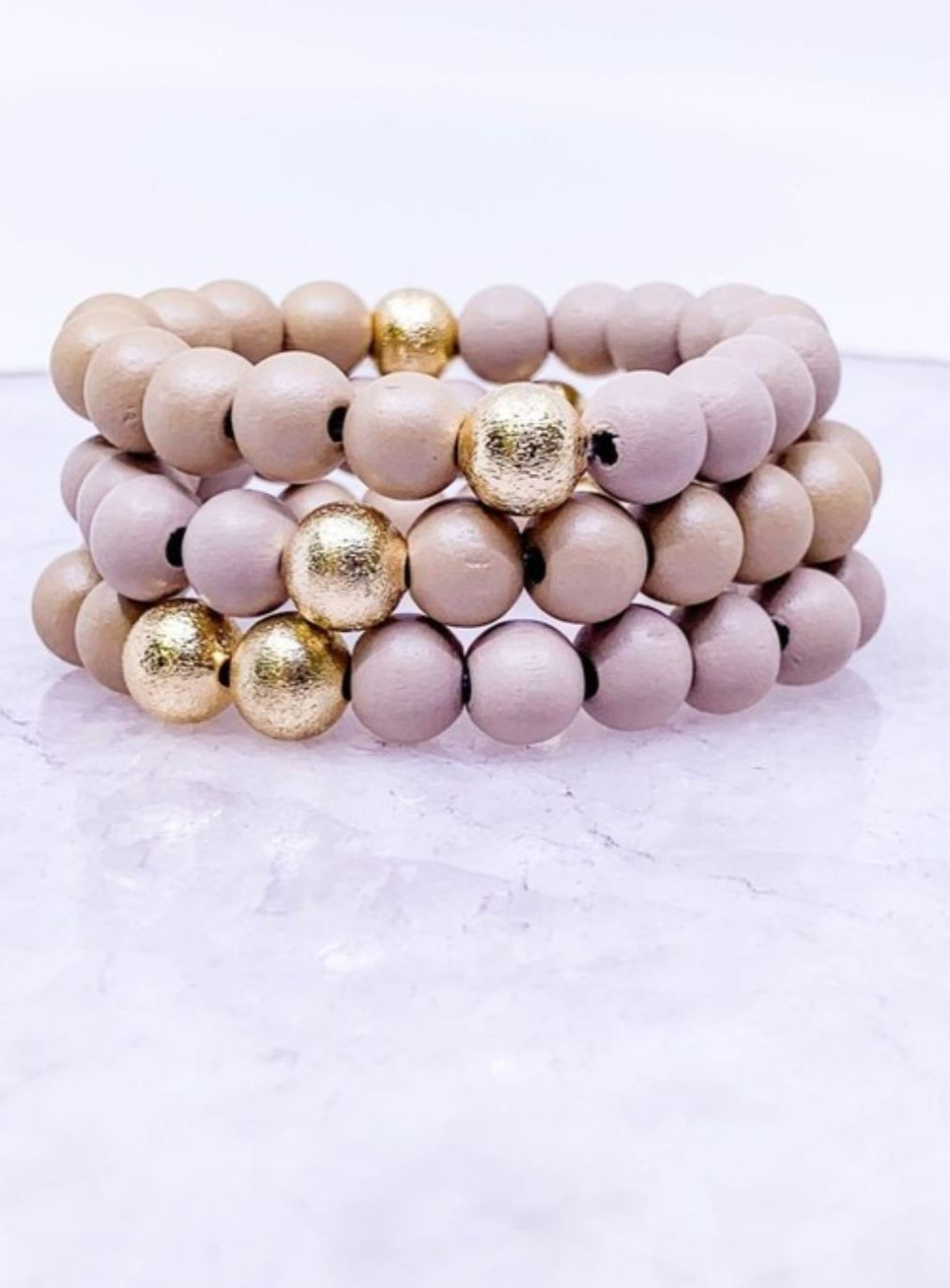 Beige + Gold Beaded Bracelet Jewelry southern seoul