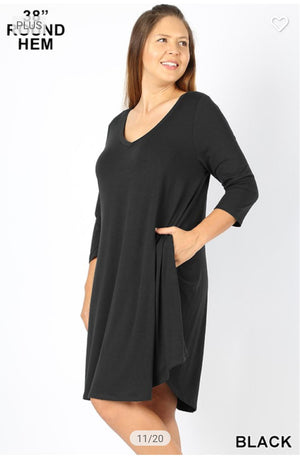 Vneck 3/4 Sleeve Dress w/Pockets (lots of colors!) Dresses zenana