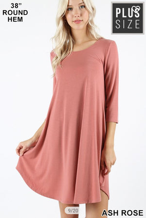 Scoopneck 3/4 sleeve dress w/ pockets (LOTS OF COLORS!) Dresses zenana