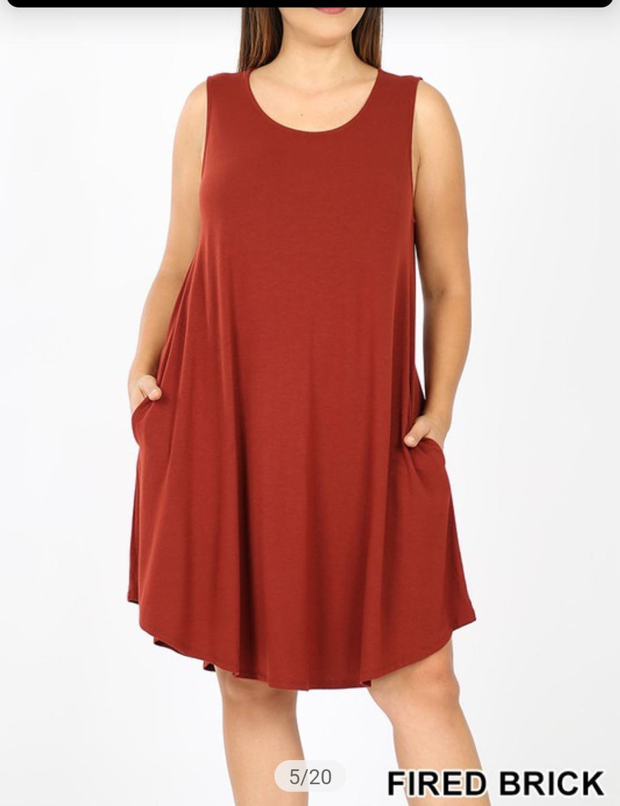 Scoopneck Sleeveless Dress w/ Pockets (lots of colors!) Dresses zenana