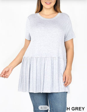 Short Sleeve Tunic Tee w/Ruffle (lots of colors!) Tops zenana