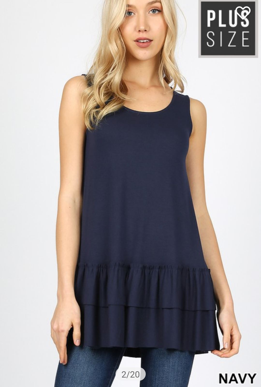 Wide Strap Tank w/Ruffle Bottom (lots of colors!) tank zenana