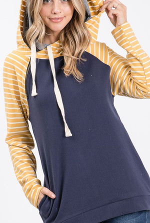 Softest Sweatshirt- Striped Raglan Hoodie (more colors!) hoodies ninexis