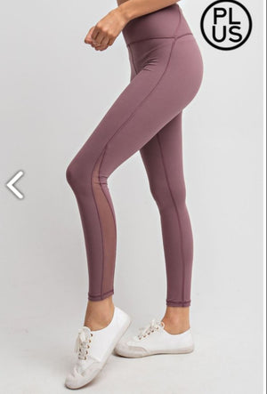 High Waist Plus Size Leggings w/mesh cutout (more colors!) LEGGINGS Stacked - Fashion for Curves