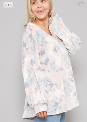 Tiedye Peach + Blue Waffle Knit Slouchy Top Tops voll