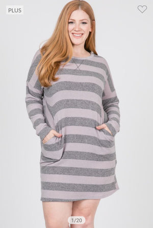 Sweatshirt-Look Striped Dress (more colors!) Dresses veveret