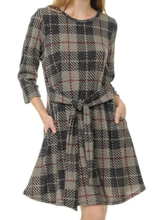 Windowpane Plaid Tie Dress (more colors!) Dresses voll